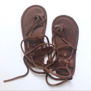 Vibram Brown Leather Strappy Gladiator Sandals 8